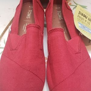 Brand New Red Tom's Shoes